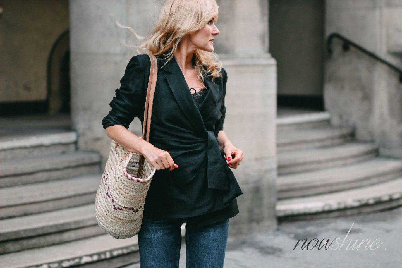 Klassiker Leinenblazer Trend 2018 - Nowshine Fashion ü40 - Blazer von Zara mit Schleife