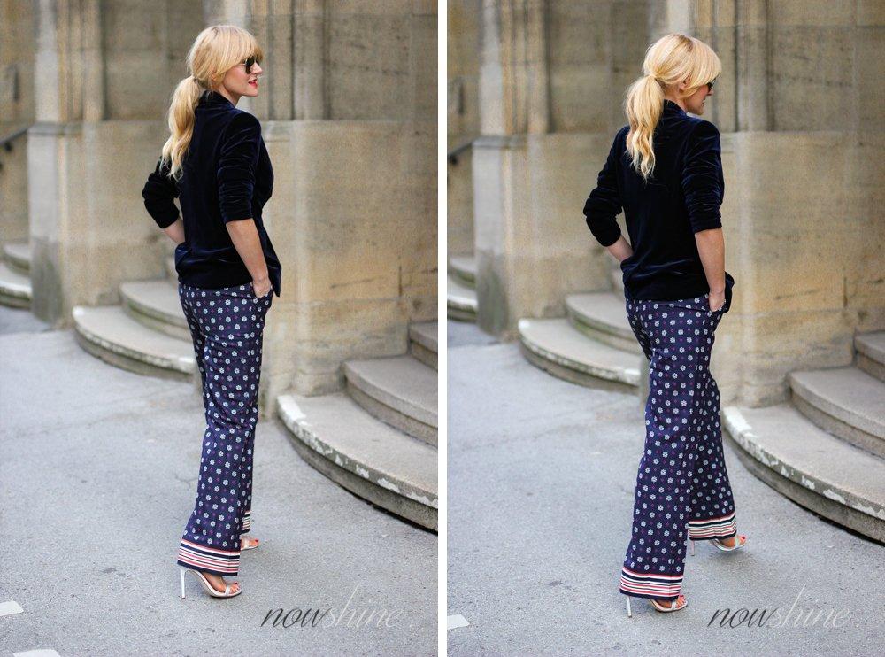 Nowshine trägt saphirfarbenen Samtblazer zur Hose im Pyjama-Look von WENZ