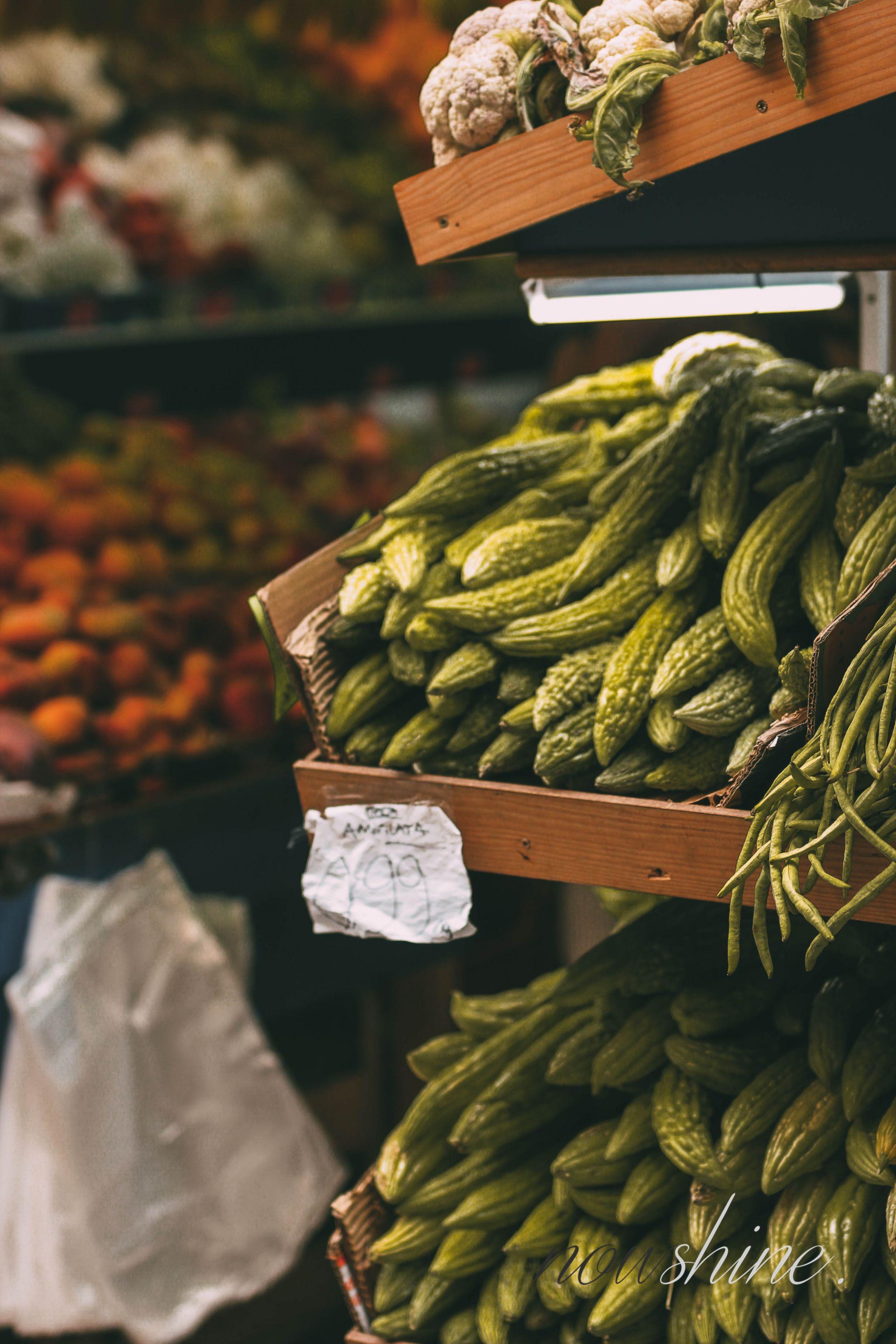 Kurztrip nach Barcelona - Nowshine Reisetipps - Gemüse in der Altstadt