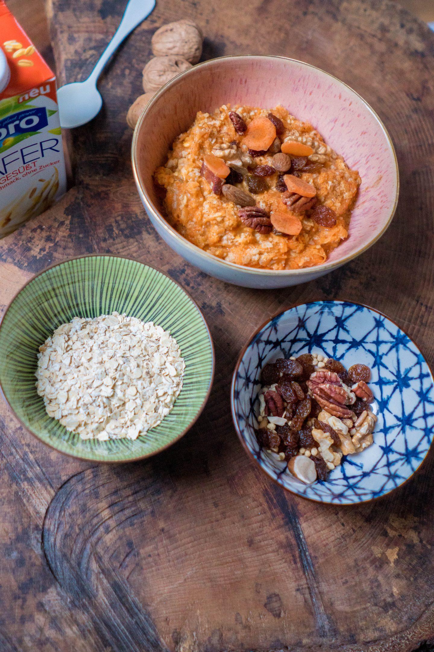 Zuckerkonsum reduzieren mit der Alpro 30 Tage Challenge - Carrot Cake Oats Rezept - Haferflocken mit Möhren