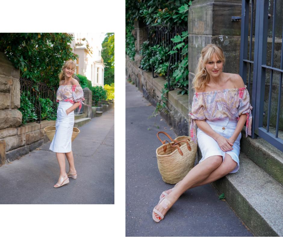 Sommeroutfit mit Off-Shoulder Bluse, Lookbook Sommer, Wenz Bluse, Nowshine Modeblog ü 40