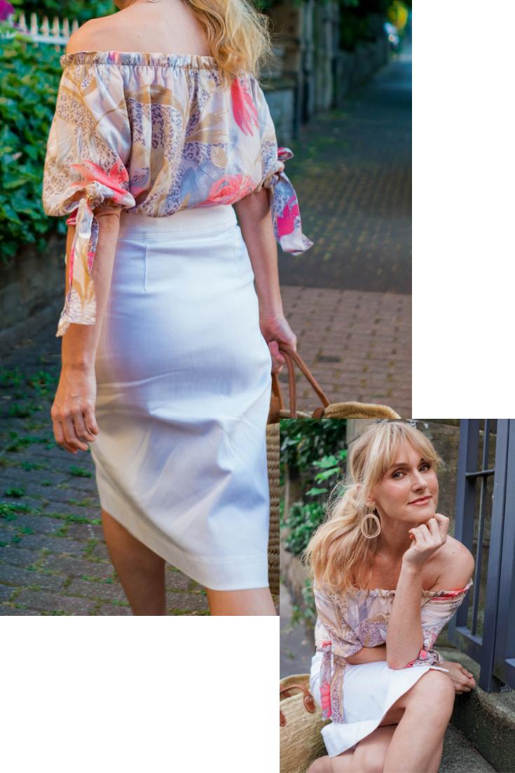 Nowshine in Off_Shoulder Bluse von WENZ, Modeblog ü 40, Fashion bLog ü 40, Wie trägt man eine Off-Shoulder Bluse
