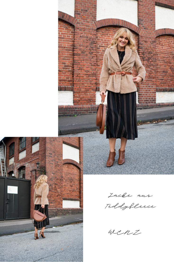Jacke aus Teddyfleece mit Gürtel von WENZ - Nowshine Modeblog - Herbstlook Teil 2