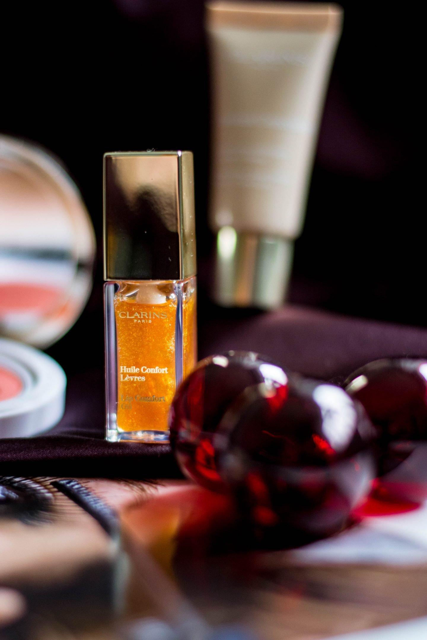Clarins, Huile Confort Lèvres, Lippenöl, Honey Glam, Pflege, Glanz, Strahlen, Leuchten, Lipgloss, Pimp your lipstick, 3 in 1 Lippenprodukt,