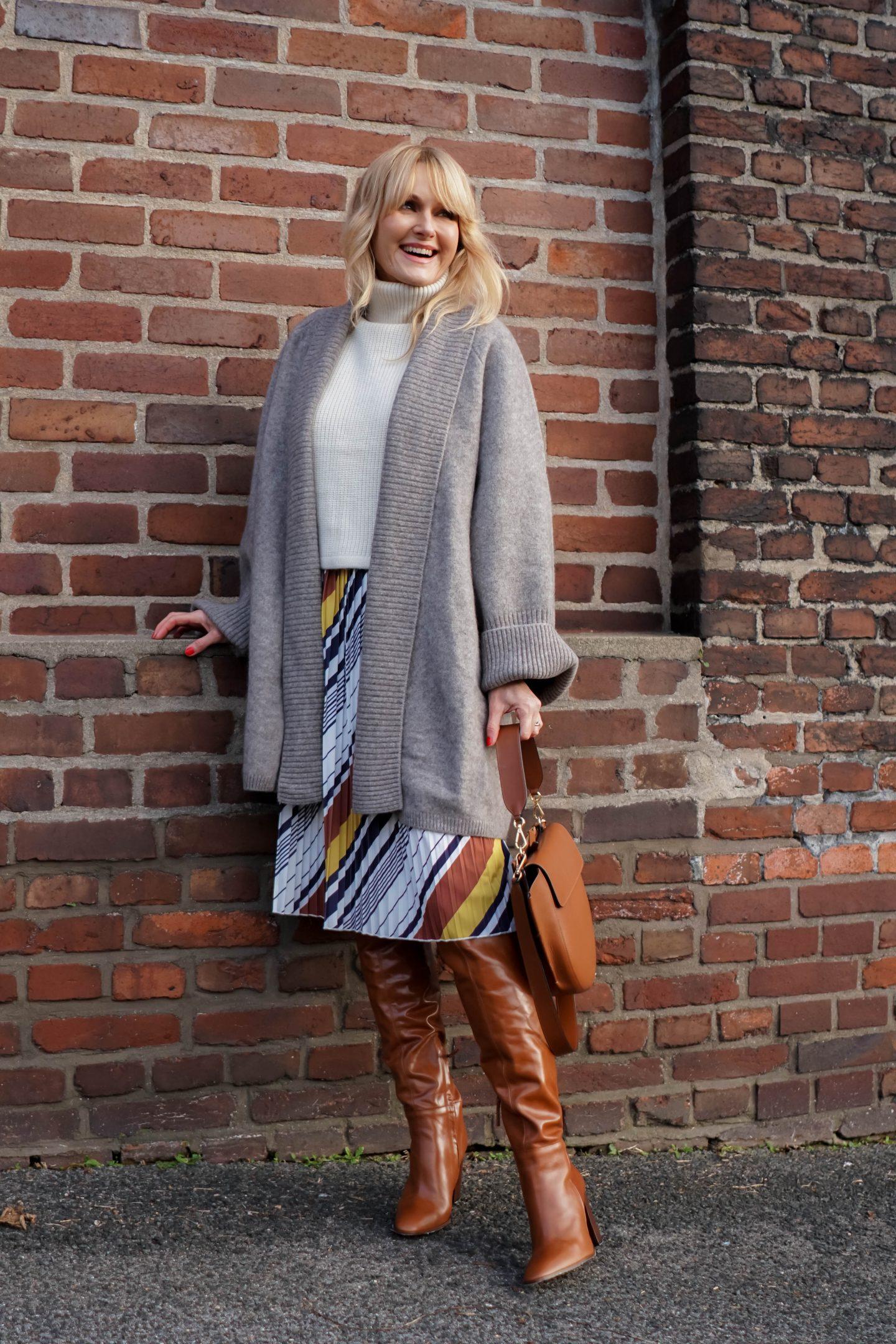 Kleid von Amy Vermont, Wenz winterlich gestylt - Nowshine Fashion Blog -Tasche Wandler -Stiefel und Cadigan Zara
