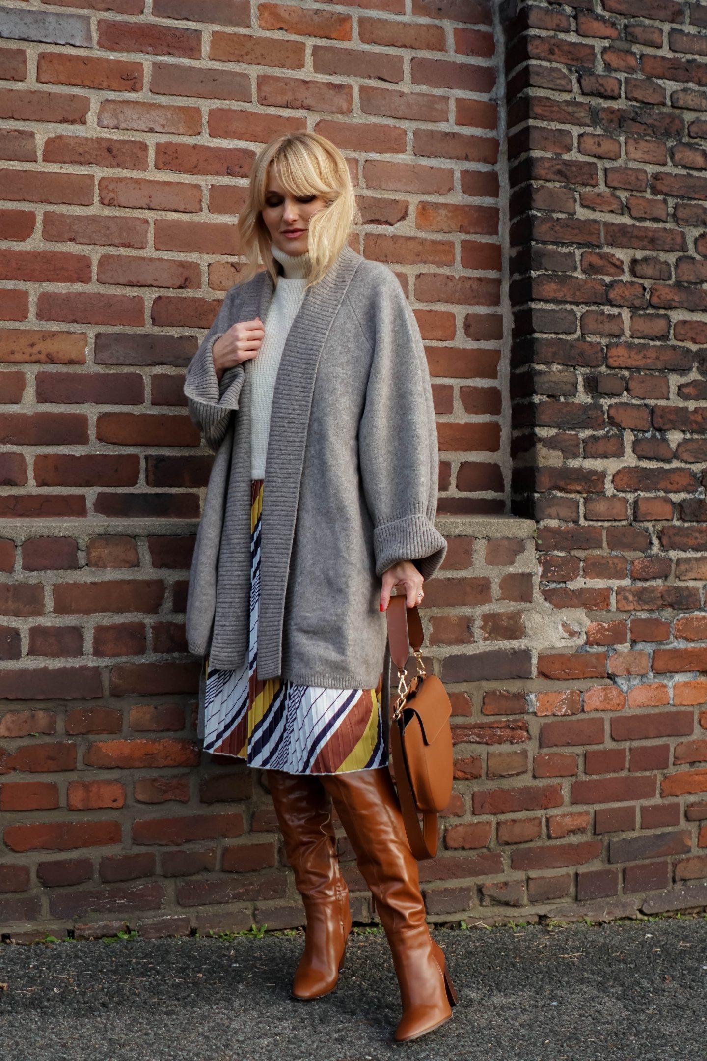Sommerkleid im Winter tragen - Kleid von Amy Vermont, Wenz winterlich gestylt - Nowshine Fashion Blog -Tasche Wandler -Stiefel und Cadigan Zara